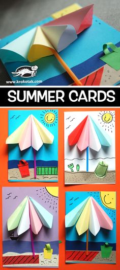 Preschool art, preschool learning, camping crafts, diy for kids, crafts for kids Summer Crafts, Diy And Crafts, Arts And Crafts, Paper Crafts, Diy Paper, Diy For Kids, Crafts For Kids, Halloween Bags, Umbrella Cards