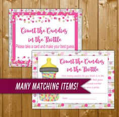 Count the Candies in the Bottle Pink and Gold Dots, Printable Baby Shower Count the Candies in the Bottle, Instant Download