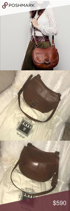 Frye crossbody Amy *Color is cognac brown  *has two pockets on the inside and two zipper pocket on the inside and outside  *has a zipper pocket on the outside  *very roomy *no stains  *no damages *new *the smell of the Frye leather is DELICIOUS  *RUDE COMMENTS WILL GET YOU BLOCKED  *reasonable offers are welcomed  💕💕💕💕💕💕 And for all of you smart mouths ... the bag comes with ALL ITS ORIGINAL TAGS... please do not leave me any rude comments ... it will get you blocked my friends! Frye…
