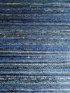 The first in a series on a green and blue warp. Threaded in a double roseppath and with various old bits of cloth for weft, with a pick of black rug warp between each shot of cloth. Weaving Tools, Loom Weaving, Hand Weaving, Weaving Textiles, Braided Rugs, Black Rug, Tear, Recycled Fabric, Woven Rug