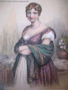 Print With Watercolor Portrait of Hortense De Beauharnais 19th C Century Signed.