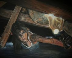 Acrylic Painting - Lara Croft by ~CurlyWurly808