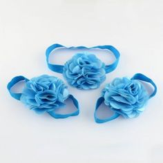 2Sets Pretty Newborn Baby Flower Headbands Barefoot Sandals Set Hot OHAR-R107-02