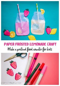 Enjoy summer with a cool frosted lemonade paper craft - you'll realize that you can make lemonade out of anything life gives you - including craft paper! Craft Projects For Kids, Crafts For Kids To Make, Craft Activities For Kids, Preschool Crafts, Art For Kids, Summer Activities, Art Projects, Pretend Food, Play Food