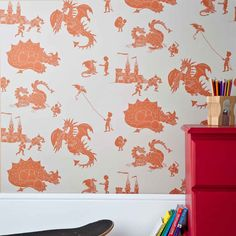 Stone Taupe Dragon Wallpaper for Children | Ere Be Dragons | PaperBoy Wallpaper for Boys Bedrooms