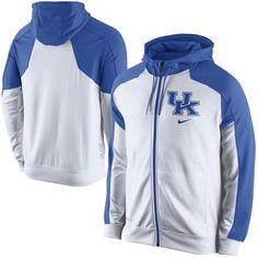 Nike Kentucky Wildcats Game Time Full Zip Performance Hoodie - White/Royal Blue