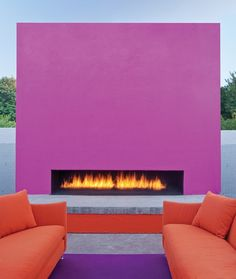 The Saguaro - Scottsdale, AZ.  LOVE this colorful fireplace - #PHXMODWK