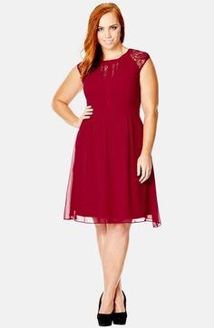 Free shipping and returns on City Chic 'Dark Romance' Lace Detail Dress (Plus Size) at Nordstrom.com.