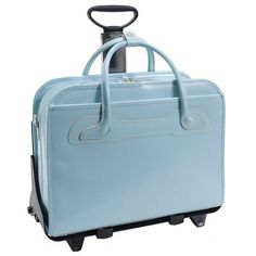 Aqua Blue, Italian leather, lightweight fashion #rolling #laptop #bag with shoulder straps to use as a tote once detached. Padded laptop compartment hold laptops 15 - 17 inches.
