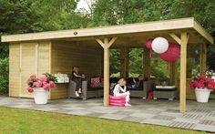De Living Modulair Excellent 700 met Design Tuinhuis is een riant buitenverblijf van 724x390 cm inclusief een tuinhuis. / Versatile spacious Living Module Excellent 700 with Garden Design Building with the size of 724x390 cm.