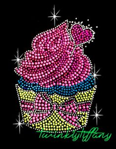 "Christmas Hotfix Rhinestone Iron on Transfer Bling ""Neon Color Cupcake Bing""   eBay"