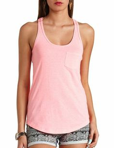 FRONT POCKET RACERBACK TANK TOP Check it out @ http://pinkals.com/s/4408 #tanktop #girl #women #top #fashion #pink