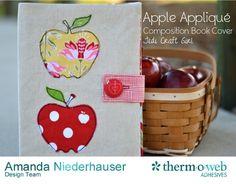 Apple Applique Composition Book Cover Tutorial
