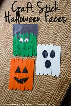 Craft Stick Halloween Faces: Frankenstein, A Ghost and A Pumpkin - - This post contains affiliate links. Reid loves to paint. And I love to clean up paint. So I am always tr Diy Deco Halloween, Halloween Arts And Crafts, Fall Crafts For Kids, Halloween Activities, Crafts For Teens, Holiday Crafts, Simple Halloween Decorations, Toddler Halloween Crafts, Fall Activities For Kids