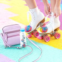 Whether I'm on-the-go on foot or on my pink roller skates, packing @chobani 's new protein-packed smoothies, Mix't Berries! #DrinkChobani #ad