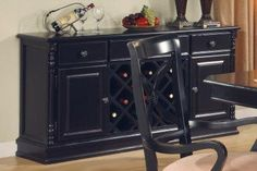 Black Semi Gloss Finish Traditional Server w/Wine Storage Racks | Furniture Clue