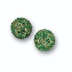 Pair of emerald, beryl and diamond ball earclips, JAR, Paris