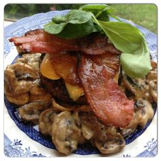 """""""Creamy garlic mushrooms topped with a beef  pesto patty, Camembert, grilled pineapple, grilled bacon and greens!"""" #PrimalJourney"""