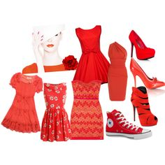 """""""Whateve' it's all about RED!"""" by atikades on Polyvore"""