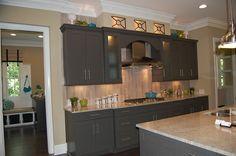 White Kashmir granite/moonlight granite option? with dark gray cabinets