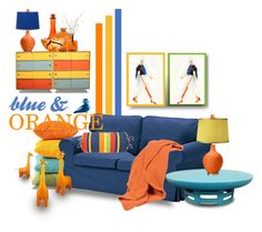 Color Challenge: Blue and Orange by betiboop8 on Polyvore featuring interior, interiors, interior design, home, home decor, interior decorating, Scapa Home, Jonathan Adler, Urban Outfitters and Kosta Boda