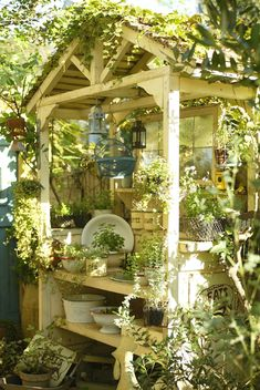 Vintage white potting table house!