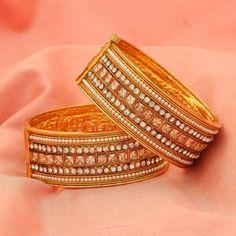 Gold Tone Indian Ethnic White AD CZ Bollywood Bangles Bracelet Sizes 2-4/2-6/2-8 #DesaiJewellers #Bangle