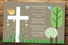 Woodland Theme Baptism Invitation for a Boy or Girl by socalcrafty, $15.00