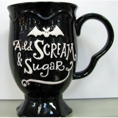Hallmark Add Scream and Sugar Coffee Mug! For Halloween/Coffee lovers Halloween Mug, Happy Halloween, Halloween Bedroom, Halloween Kitchen, Halloween Queen, Halloween Birthday, Spooky Halloween, Halloween Ideas, Crackpot Café