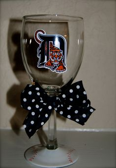 Need this...Detroit Tigers Wine glass via Etsy