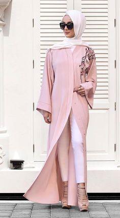 PINTEREST: @MUSKAZJAHAN - Blush pink embroidered abaya