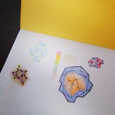 My first geometric watercolor pencil doodling :)