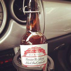 Ethical Soda Company - Russian Raspberry Black Tea Kombucha - Vancouver, CA Kombucha Brands, Kombucha Recipe, Cocktails, Drinks, Whiskey Bottle, Homestead, Vancouver, Packaging Design, Soda