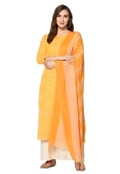 Buy Yellow Cotton Kameez With Palazzo 207953 online at lowest price from huge collection of salwar kameez at Indianclothstore.com.