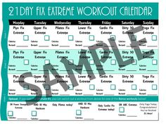21 Day Fix Workout Schedule Calendar with Calories Burned Logging ...