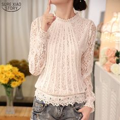2017 New Summer Ladies White Blusas Women's Long Sleeve Chiffon Lace Crochet Tops Blouses Women Clothing Feminine Blouse 51C //Price: $15.18 & FREE Shipping //     #Cheapprice