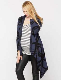 A Pea in the Pod Blank Long Sleeve Open Front Maternity Cardigan