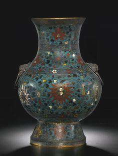 "A cloisonné enamel ""Lotus"" vase, hu, Ming dynasty, 17th century"