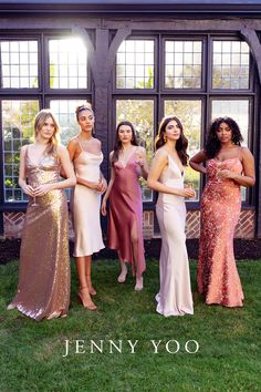 It doesn't get more modern and stylish than the perfect mix of midi and maxi bridesmaid dresses. These modern midis, shimmering satins, and sequin bridesmaid dresses can be worn again as the perfect dresses for prom, formal events, or any occasion. Shown in the styles Celia, Adele, Bella, Ida, and Dahlia in romantic pink and rosy red hues. Sequin Bridesmaid Dresses, Wedding Bridesmaids, Prom Dresses, Wedding Dresses, Plan My Wedding, Dream Wedding, Wedding Ideas, Prom Poses, Convertible Dress