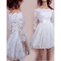 Plus Size Short wedding lace dresses Off-Shoulder Custom Made/ ,3/4 Sleeves Bridal Gown ($170) found on Polyvore