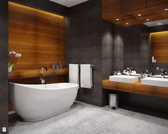 Wood tones are perfect. Bathroom Design Luxury, Modern Bathroom Design, Modern Interior Design, Small Bathroom Renovations, Bungalow House Design, Bathroom Inspiration, Dom, Ideas, Sunken Tub