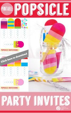 Popsicle Party Printables | Printable party invites| Printable invitations | Fun invites for a summer party!