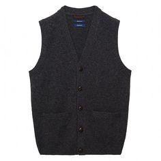 Gant Men s Lambswool Classic Vest Dark Charcoal Melange