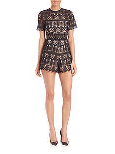 Alexis Alexandria Lace Short Jumpsuit - Black - Size