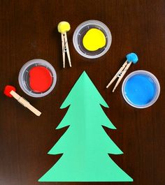 Painting with Pom Poms Christmas Tree Craft