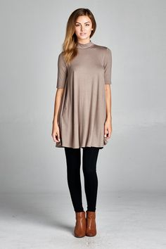 Our Vera Mock Neck tunic is the perfect basic for layering! Wear underneath your favorite cardigans or over your beloved leggings!