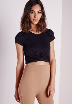 Missguided - Knot Front Capped Sleeve Crop Top Black