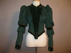 Victorian Beaded Blouse Circa - Late 1800s aproximately1890s Gorgeous hunter green cotton bodice trimmed with green velvet ruching at front