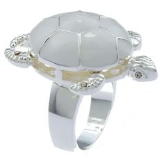 City by City City Style Silvertone White Epoxy Turtle Ring (Size 8), Women's, Ivory