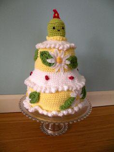 Lemon Yellow Crocheted Birthday Cake